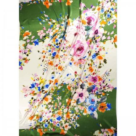 Multi floral printed silk satin